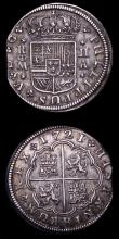 London Coins : A155 : Lot 2339 : Spain 2 Reales (2) 1721A KM#296 VF toned,  the planchet flattened at the edge between 8 and 10 o&#03...
