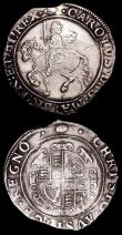 London Coins : A156 : Lot 1729 : Halfcrown Charles I S.2775 mintmark Tun Bright Good Fine with a scratch in the obverse field, Shilli...