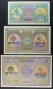 London Coins : A157 : Lot 213 : Maldives (3) 1 Rupee Pick 2b, 2 Rupees Pick3b, 5 Rupees Pick4b, dated 4th June 1960, palm tree at le...