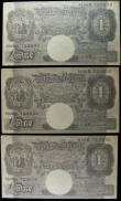 London Coins : A157 : Lot 22 : One pounds Peppiatt prefix H86D, facsimile German propaganda notes dropped on North Africa WW2, Arab...