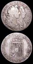 London Coins : A157 : Lot 2515 : Halfcrowns (2) 1689 Second Shield, no frosting, with pearls ESC 511, About Fine, Ex-Croydon Coin Auc...