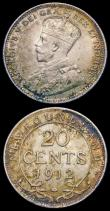London Coins : A158 : Lot 1058 : Canada 10 Cents 1910 Pointed Leaves KM#33 Lustrous UNC, 1885 KM#3 GF/NVF toned, Newfoundland 20 Cent...