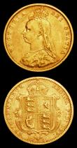 London Coins : A158 : Lot 2154 : Half Sovereigns (2) 1893M Jubilee Head Marsh 484A Fine, 1897S Marsh 503 VG/Fine
