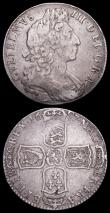 London Coins : A158 : Lot 2172 : Halfcrown 1697E Large Shields, Normal Harp ESC 547 About Fine, Shilling 1696C R of GRA over inverted...