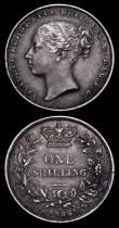 London Coins : A158 : Lot 2523 : Shillings 1866 ESC 1314 (2) Die Number 1 NEF toned, Die Number 4 VF toned