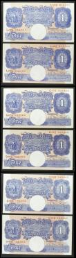 London Coins : A158 : Lot 52 : One Pound Peppiatt (6) B249 blue emergency issue 1940, 3 consecutively numbered pairs, prefixes L02E...