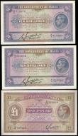 London Coins : A159 : Lot 1795 : Malta (3) 10 Shillings (2) issued 1940 series A/3 715070 & A/3 525662 & 1 Pound issued 1940 ...