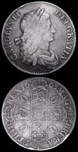 London Coins : A159 : Lot 2856 : Crowns (2) 1663 XV ESC 22 VG, 1663 XV, Extra curl below C ESC 27 NVG