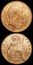 London Coins : A159 : Lot 2942 : Penny 1902 Low Tide Freeman 156 dies 1+A UNC and lustrous with an old scratch on the reverse, Halfpe...
