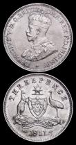 London Coins : A159 : Lot 2992 : Australia Threepences  (2) 1911 KM#24 EF with some small toning spots on the obverse, 1923 KM#24 EF ...