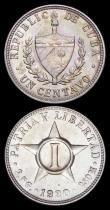 London Coins : A159 : Lot 3050 : Cuba (3) 5 Centavos 1915 KM#11.1 EF with some small spots, 2 Centavos 1915 KM#A10 UNC or near so wit...