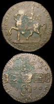 London Coins : A159 : Lot 3231 : Ireland (2) Crown 1690 Gunmoney S.6578 Fine for wear with some verdigris, Shilling 1689 Large size, ...