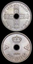 London Coins : A159 : Lot 3323 : Norway (4) 50 Ore 1945 KM#386 UNC, 10 Ore (3) 1925 KM#383 UNC, 1937 KM#383 UNC and lustrous with sma...