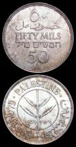 London Coins : A159 : Lot 3353 : Palestine 50 Mils (2) 1939 KM#6 GEF/EF toned with some contact marks, 1940 KM#6 EF with a small tone...