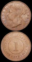 London Coins : A159 : Lot 3436 : Straits Settlements One Cent (2) 1897 KM#16 NEF with some contact marks, 1908 KM#19 GEF