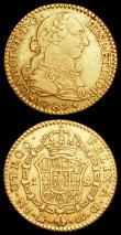 London Coins : A160 : Lot 1232 : Spain Escudo 1787DV KM#416.1a Fine/Good Fine, Netherlands - Holland Gold Stuiver 1763 KM#91a Good Fi...