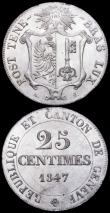 London Coins : A160 : Lot 1243 : Swiss Cantons (2) Solothurn 2 1/2 Batzen 1826 KM#81 UNC and lustrous with traces of gold toning and ...