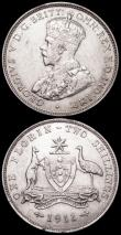 London Coins : A160 : Lot 3081 : Australia Florin 1911 KM#27 VF/GVF with some hairline scratches on the reverse, 1916M KM#27 GVF with...