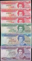 London Coins : A160 : Lot 310 : Eastern Caribbean Central Bank (6), 20 Dollars issued 1987 - 1988 (Pick19a) EF, 10 Dollars issued 19...