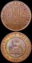 London Coins : A160 : Lot 3228 : French Indo-China One Cent (2) 1887A KM#1 UNC with colourful tone, 1894A KM#1 EF