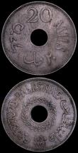 London Coins : A160 : Lot 3403 : Palestine 20 Mils (2) 1934 KM#5 Fine, 1942 KM#5a EF toned