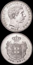 London Coins : A160 : Lot 3425 : Portugal 500 Reis (2) 1858 KM#498 NEF, 1886 KM#509 EF