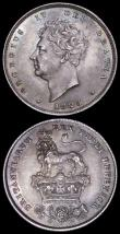 London Coins : A161 : Lot 1890 : Shillings (2) 1821 ESC 1247, Bull 2396 NEF with some contact marks, 1825 Lion on Crown ESC 1254, Bul...