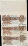London Coins : A161 : Lot 24 : One Pound Bradbury (4), T16 issued 1917 two first series notes, A/6 977396 & A/96 904681, King G...