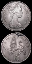 London Coins : A162 : Lot 1093 : Mint Errors - Mis-Strikes (2) Sixpence 1967 struck off-centre with around 1mm  blank flan and a rais...