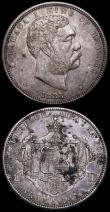 London Coins : A162 : Lot 1667 : Hawaii (2) Dollar 1883 Breen 8035 GVF the reverse with some spots, Half Dollar 1883 Breen 8034 GVF t...