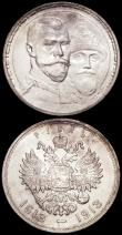 London Coins : A162 : Lot 1693 : Russia Roubles (2) 1913BC 300th Anniversary of the Romanov Dynasty Y#70 A/UNC and lustrous with some...