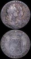 London Coins : A162 : Lot 1861 : Halfcrowns (2) 1689 First Shield, Caul only frosted, with pearls, ESC 505, Bull 831, Near Fine/Fine ...