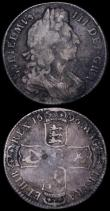 London Coins : A162 : Lot 1863 : Halfcrowns (2) 1696 First Bust, Early Harp, Large Shields ESC 522, Bull 1016 NVF toned with some old...