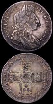 London Coins : A162 : Lot 1864 : Halfcrowns (2) 1697y First Bust, Later Harp, Large Shields ESC 551, Bull 1100 Fine, the reverse slig...