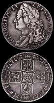 London Coins : A162 : Lot 1900 : Shillings (2) 1723 SSC First Bust ESC 1176, Bull 1586 VF/GVF, 1745 LIMA ESC 1204, Bull 1722 Fine/Goo...