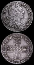 London Coins : A162 : Lot 1907 : Sixpences (2) 1697E Third Bust, Later Harp, Large Crowns ESC 1671, Bull 1286 Good Fine/Fine with som...