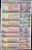 London Coins : A162 : Lot 206 : Barbados (7), 100 Dollars issued 2000 series E21 169825, (Pick65) about Uncirculated, 50 Dollars iss...