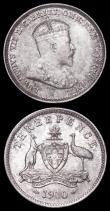 London Coins : A162 : Lot 2902 : Australia Threepences (2) 1910 KM#18 EF/UNC, 1911 KM#24 UNC