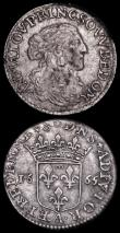 London Coins : A162 : Lot 2918 : France (2) 1/12 écu au buste juvénile 1664. Silver, Louis XIV 1664D. Laureate and drap...