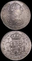 London Coins : A162 : Lot 2942 : Peru 8 Reales 1777 LIMAE MJ KM#78 VF, Spain Pretender Coinage 2 Reales 1712 CAROLVS monogram reverse...