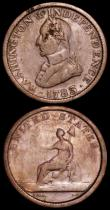 London Coins : A162 : Lot 2973 : USA (2) Halfpenny Virginia 1773 Stop after S Breen 180, weight 7.11 grammes, Fine, Cent 1783 Washing...