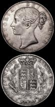 London Coins : A162 : Lot 2989 : Crowns (2) 1844 Young Head ESC 280, Bull 2561 Good Fine, 1889 ESC 299, Bull 2589, Davies 484 dies 1C...