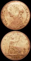 London Coins : A162 : Lot 2996 : Farthings (2) 1860 Beaded Border Freeman 496 dies 1+A,UNC with good lustre, 1895 Bun Head Freeman 59...
