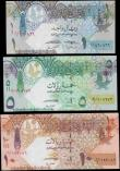 London Coins : A163 : Lot 1535 : Qatar Central Bank (3), 10 Riyals, 5 Riyals and 1 Riyal issued 2008 - 2015, all REPLACEMENT notes, (...