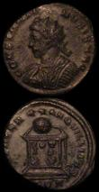 London Coins : A163 : Lot 204 : Ancients (3) Celtic Bronze Unit Cunobelin S.350 Fine with green patina, Radiate AE3 Constantine II R...