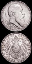 London Coins : A163 : Lot 2446 : German States - Baden 2 Marks (2) 1902 Friedrich I 50th Year of Reign KM#271, 1906 Friedrich I Golde...