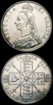 London Coins : A163 : Lot 439 : Double Florins (2) 1887 Roman 1 ESC 394, Bull 2695 NEF/EF, 1888 Second I in VICTORIA is an inverted ...