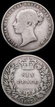 London Coins : A164 : Lot 1349 : Sixpences (2) 1862 as ESC 1711, Bull 3207 with narrow date, VG Very Rare, 1863 ESC 1712, Bull 3209 V...