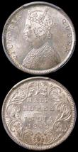 London Coins : A164 : Lot 1773 : India in PCGS holders (2) Half Rupee 1862 (b&m) KM#472,SW-4 B/III UNC and lustrous and graded MS...