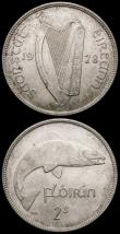 London Coins : A164 : Lot 403 : Ireland (2) Florin 1928 S.6626 UNC and lustrous, lightly toned with a few small contact marks, Flori...